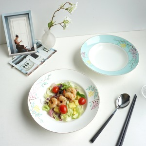 [화이트블룸] Wisteria Rim Soup Bowl 1p (White/Mint)